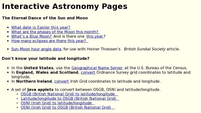 Obliquity's Interactive Astronomy Pages | Curriki