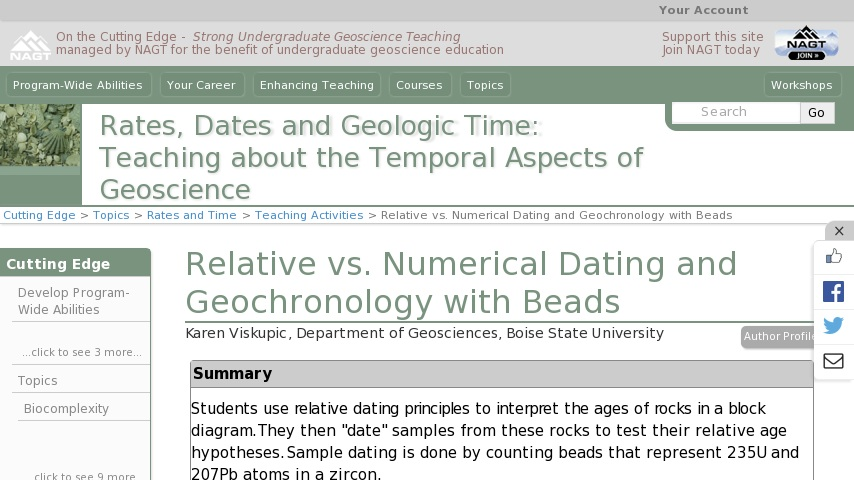 numerical dating and relative dating