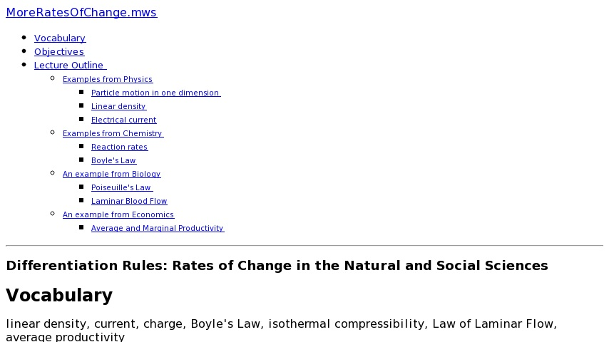 Rates Of Change In Natural And Social Sciences
