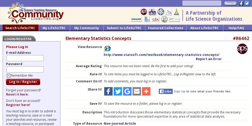 Elementary Statistics Concepts | Curriki