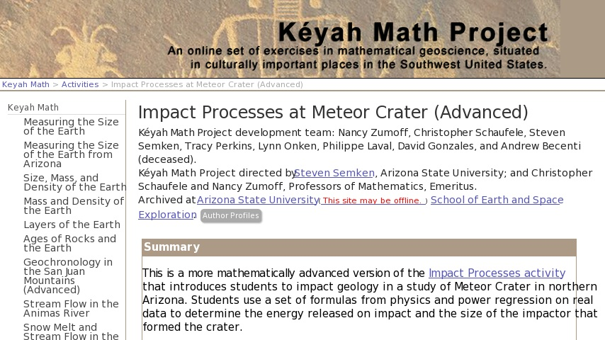 Impact Processes at Meteor Crater (Advanced) | Curriki