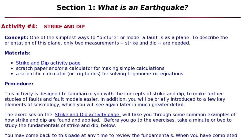 What Is an Earthquake?: Strike and Dip   Curriki