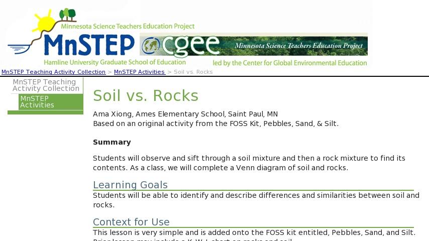 soil vs rocks curriki Venn Diagram of Waves log in to your account