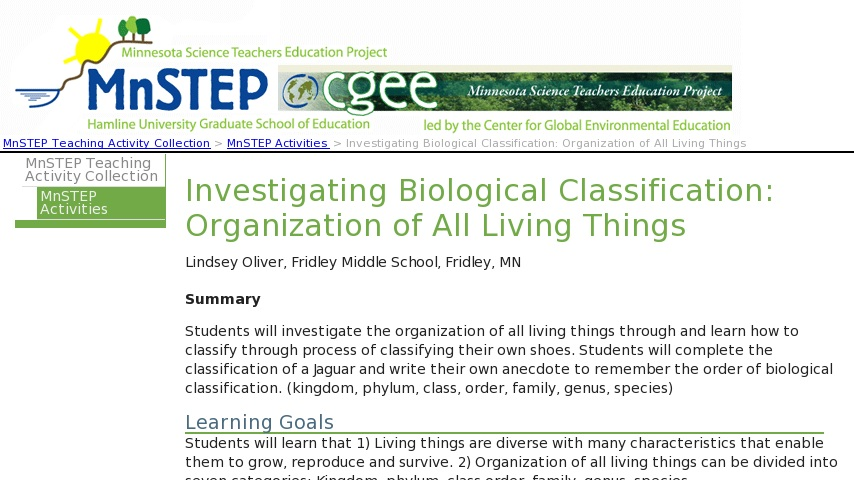 Investigating Biological Classification: Organization of All