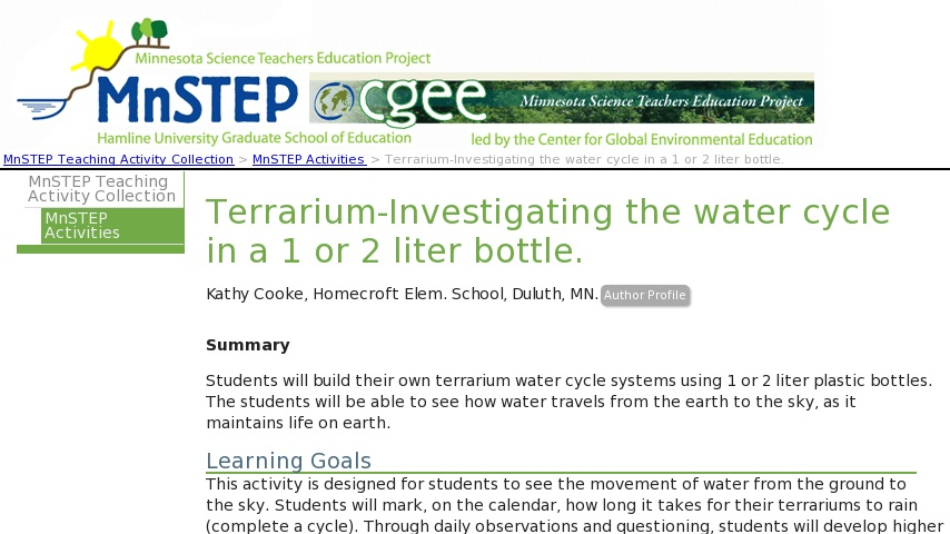 Terrarium Investigating The Water Cycle In A 1 Or 2 Liter Bottle