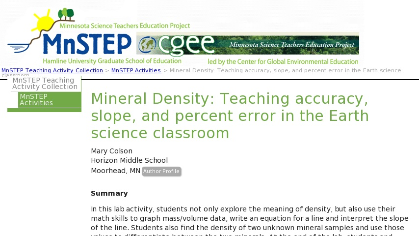 Mineral Density Teaching Accuracy Slope And Percent Error In The