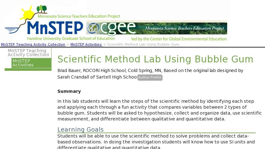 Scientific Method Lab Using Bubble Gum   Curriki