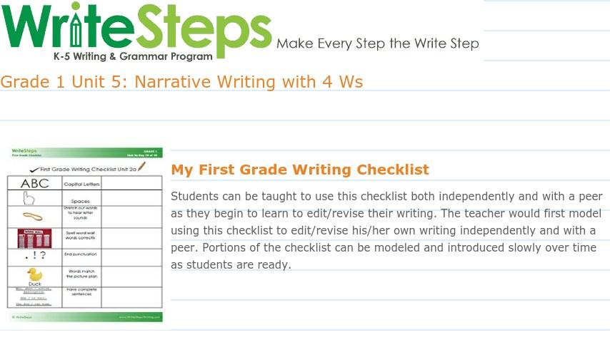 WriteSteps First Grade Unit 5   Curriki