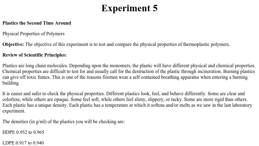 physical and chemical properties lab experiment