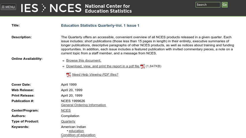 Nces Releases Condition Of Education >> Education Statistics Quarterly Spring 1999 Issue Curriki