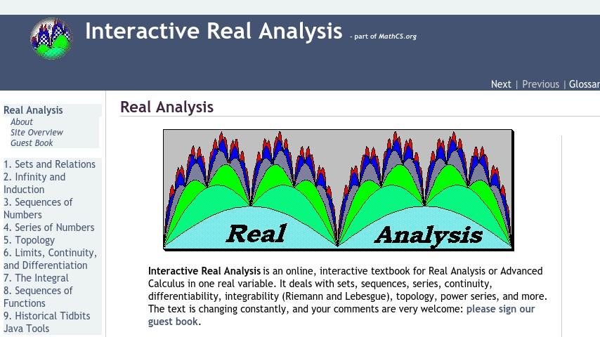 Interactive Real Analysis | Curriki