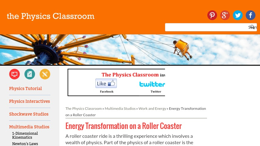 The Physics Classroom: Energy Transformation on a Roller
