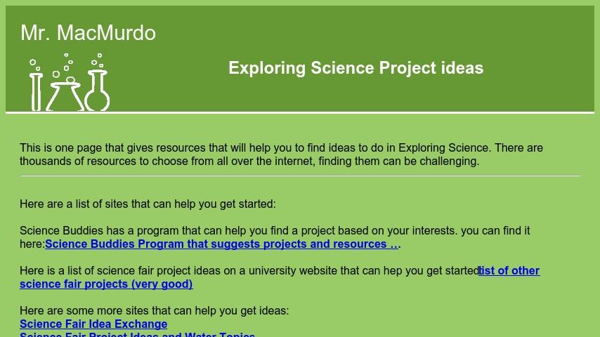 Exploring Science Project ideas | Curriki