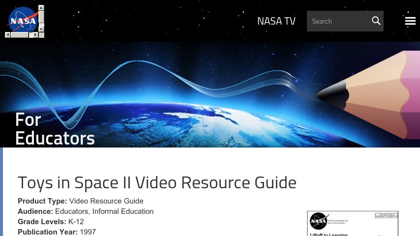 Toys In Space Ii Video Resource Guide Curriki