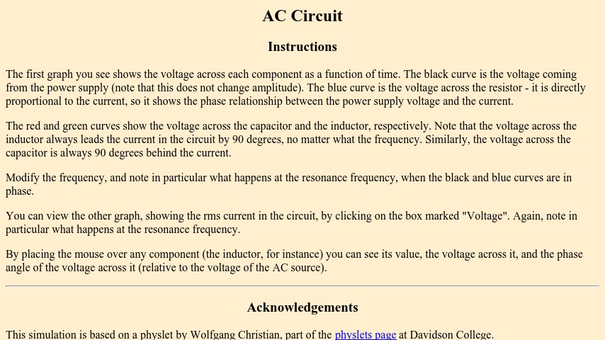 Boston University Physics Applets: AC Circuit | Curriki