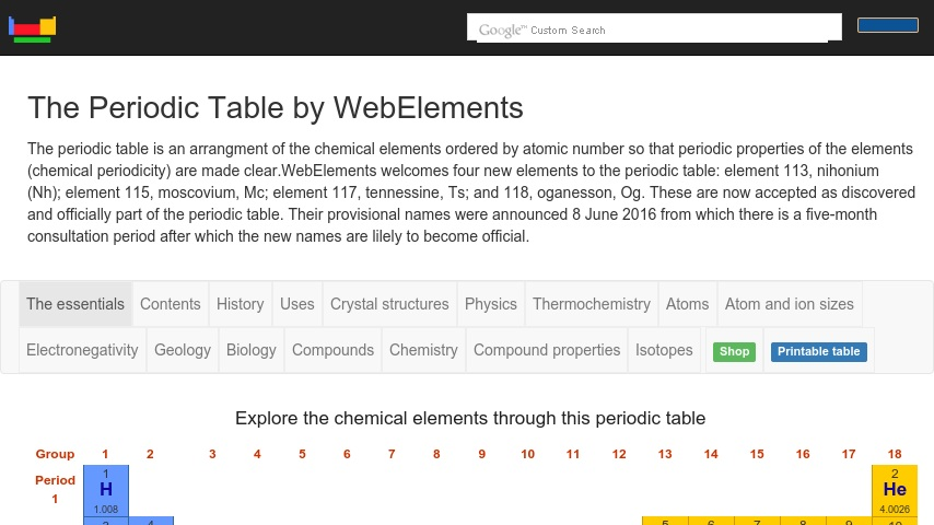 Webelements Periodic Table Curriki