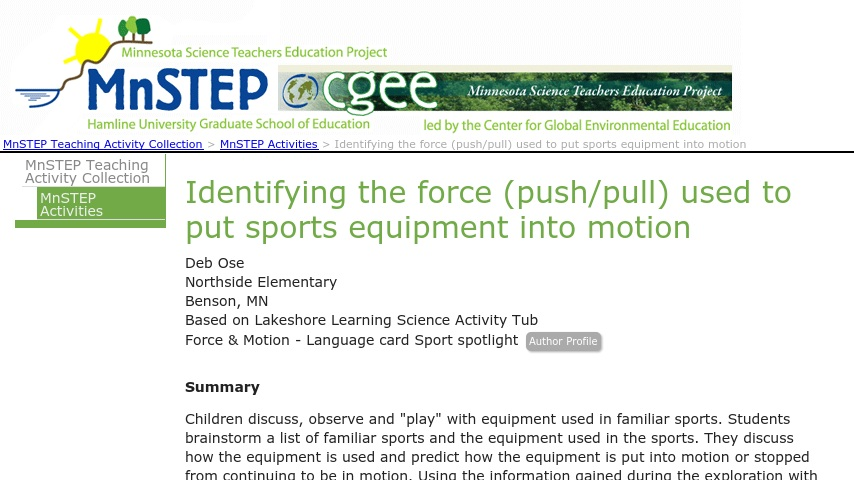Sports Equipment - What Kind of Force? | Curriki