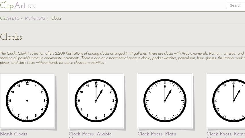 Clipart ETC: Clock Menu | Curriki