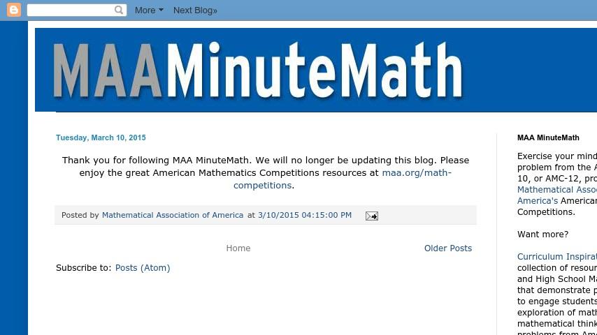MAA Minute Math | Curriki