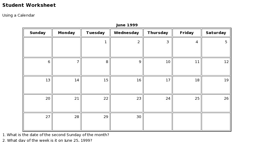 Functional Maths Calendar Curriki