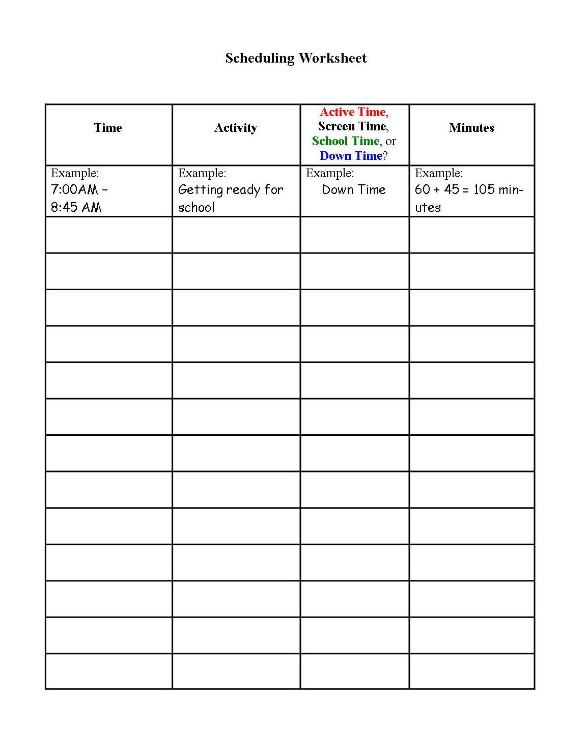 Scheduling worksheet