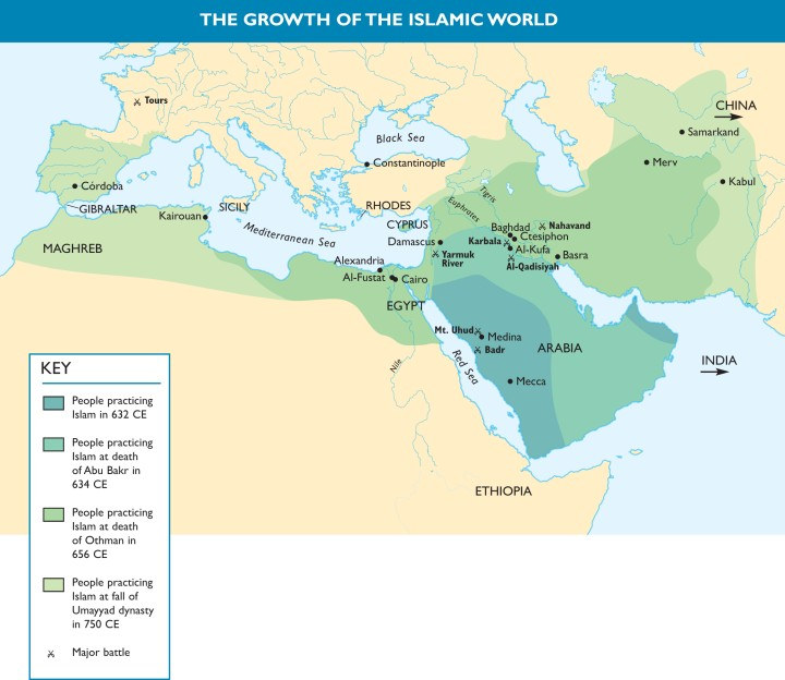 Map Illustrating The Reach of Islam 632 CE