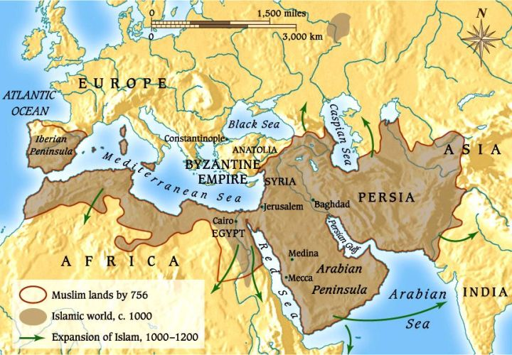 Map Illustrating Reach of Islam by 1200