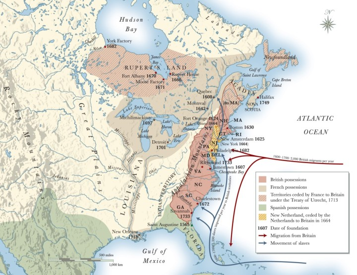 Map Illustrating British Control of North America 1775