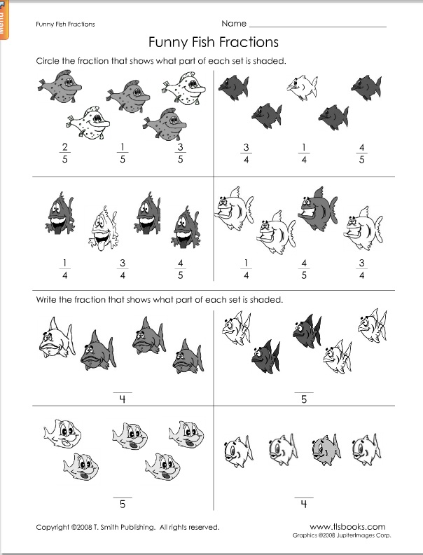 Fish Fractions - Math Worksheet