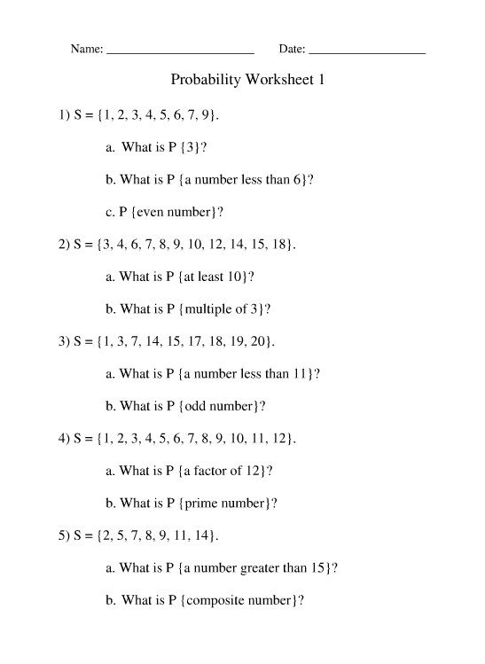 Probability Problems - Math Worksheet