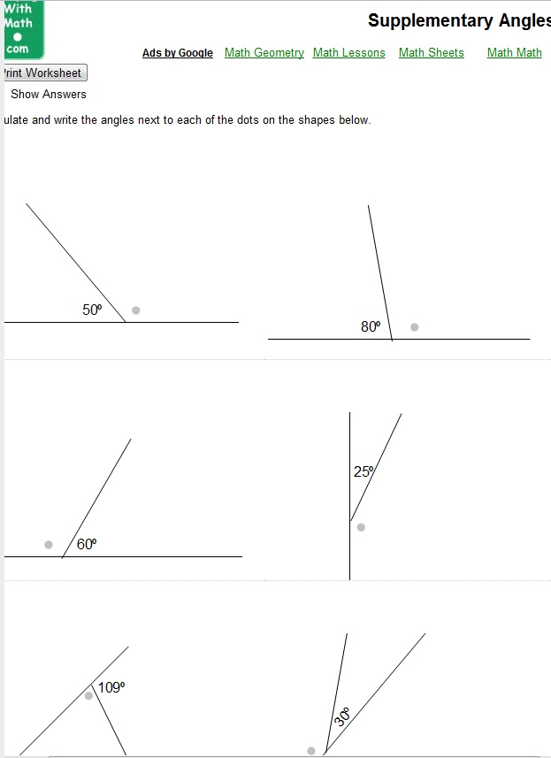 Supplementary Angles - Math Worksheet