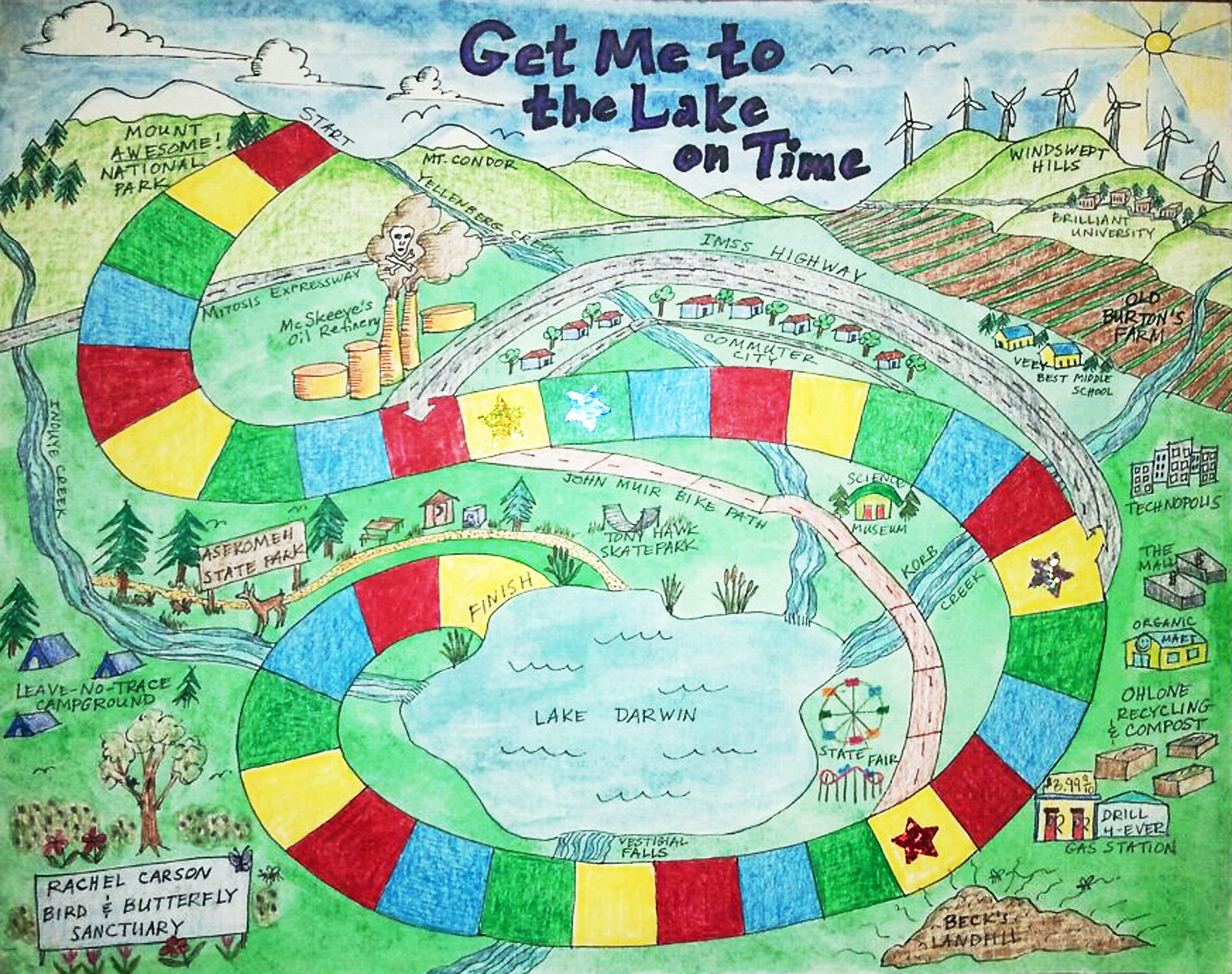 Get Me to the Lake On Time! Game board