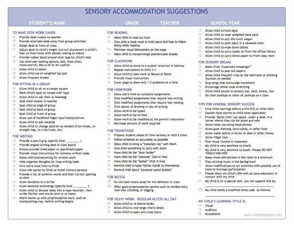 Accommodations for Sensory Processing Disorders